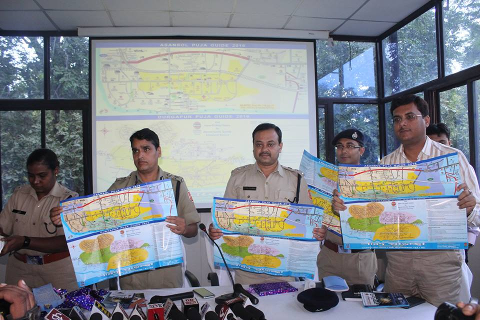 Puja Guide Map & Apps inaugurated by Commissioner of Police, Asansol Durgapur on 05.10.2016. It will be distributed through the Police Assistance Booth at different places under ADPC and Safety Guidance in Bengali also distributed from the Police Assistance Booth.