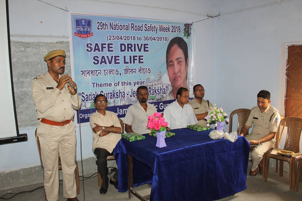 Traffic awareness programme organized by Jamuria Traffic Guard at Bogra Vivekananda Mission High School on 24.04.18
