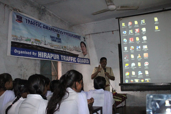 On 13.07.2018 A Traffic awareness Programme organized by Hirapur Traffic Guard at Mahatma Gandhi High School, New Town, under Hirapur PS