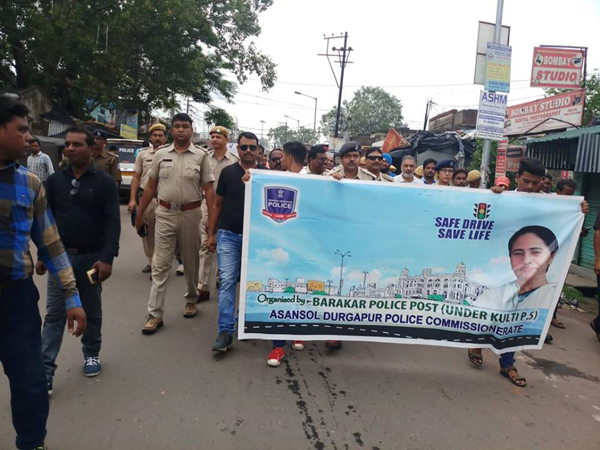 ON 09.07.2018 A SAFE DRIVE SAVE LIFE PROGRAMME HAS BEEN ORGANISED BY KULTI PS AT BARAKAR BUS STAND