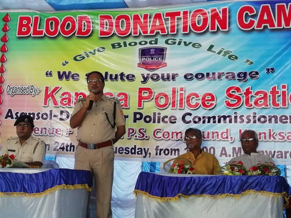 Blood Donation Camp organized by Kanksa Police Station at PS Compound on 24.07.2018.ACP Kanksa and other respectable persons are present.40 bottle Blood by Police personnel, CVs and Local citizens are donating Blood