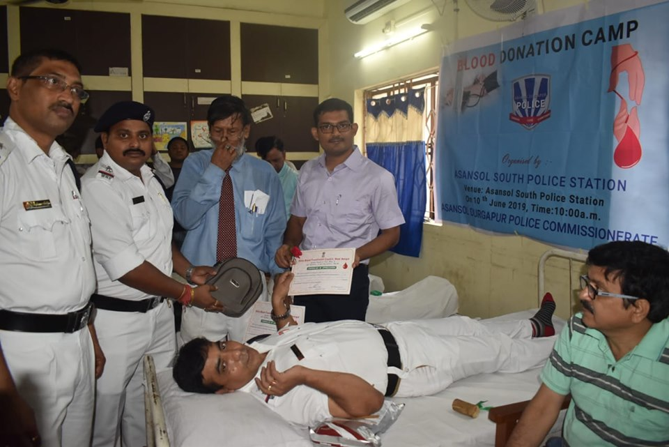 On 10.06.2019 from 10:00 hrs onwards a Blood Donation Camp was organized at Asansol (South) PS, ADPC (.) Total 65 (sixty five) donors have donated blood in the said camp (.) The Addl. Dy. C.P (Central), ADPC, Asstt. C.P (Central), ADPC, C.I, Asansol ADPC and so many respectable persons of Asansol South PS area were remain present in the said camp (.)
