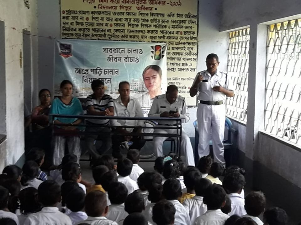 Today on 17.07.2019 a School Interaction Programme organised by Kulti Traffic Guard at Radhanagar Prathamik Vidyalaya under Kulti PS.