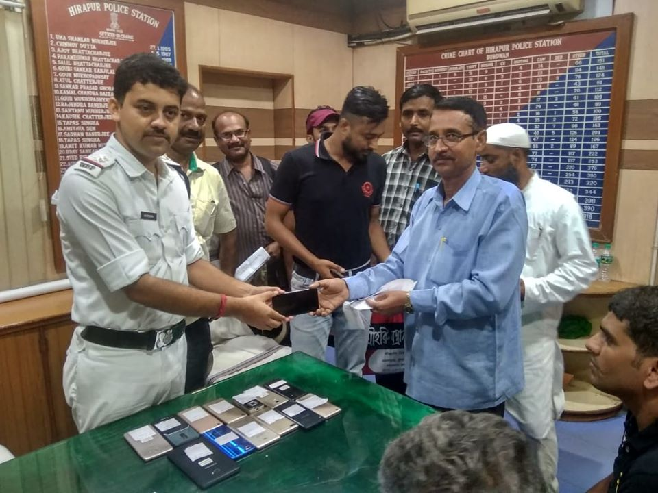15 Missing Mobile recovered and handed over to its actual owner after proper verification by Hirapur PS.