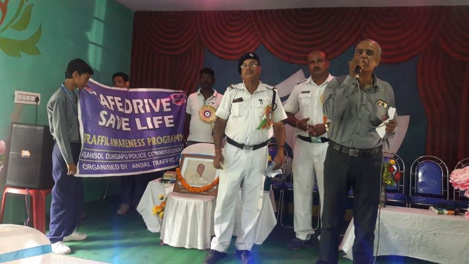 On 28.08.19 a Safe Drive Save Life awareness programme organized by Andal Traffic Guard at khandra High School under Andal PS.