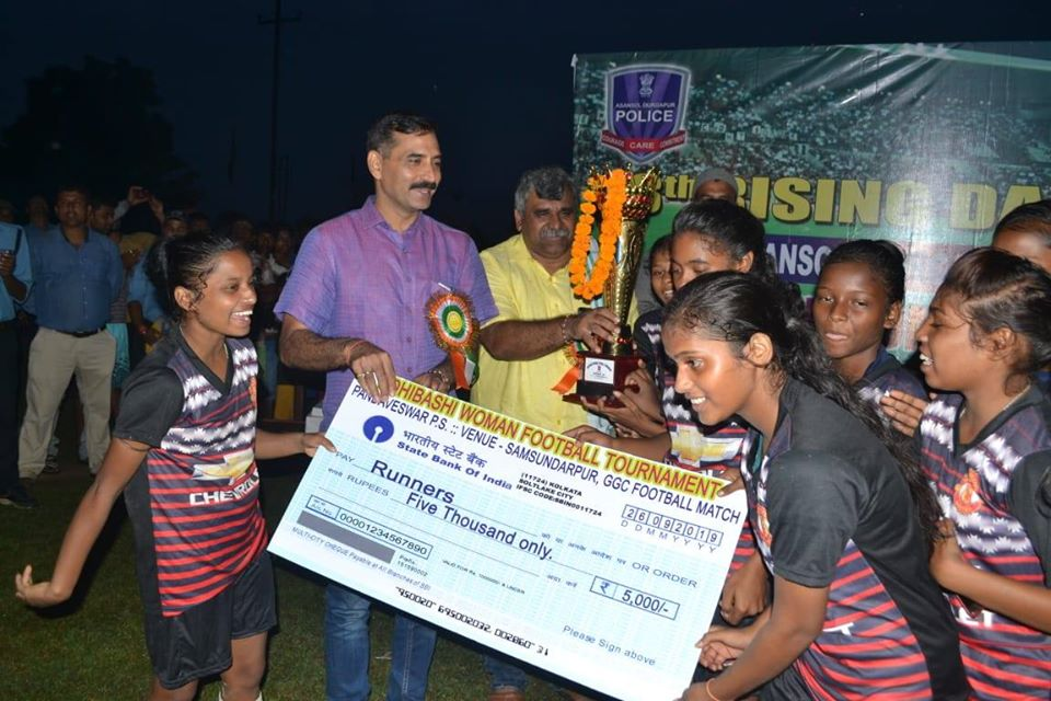 Adibasi Womens Football Tournament at Kumardiha GGC ground organized by Pandabeswar PS on 26.09.19 in presence of Hon'ble CP ADPC, DCP east, ACP East, CI (B) Durgapur, MLA Pandabeswar and other local dignitaries