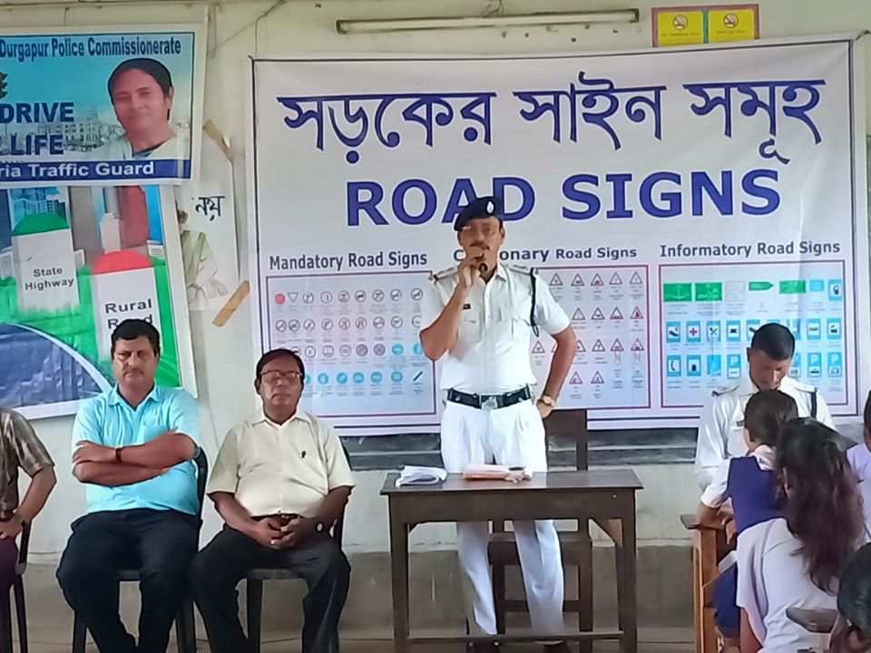 Today on 30.08.19 a Safe Drive Save Life awareness programme School at Natajee Siksha Nikatan School, Bijpur under Jamuria Traffic Guard area, Approx 250 students, Teachers with officers and staffs of Jamuria Traffic Guard.