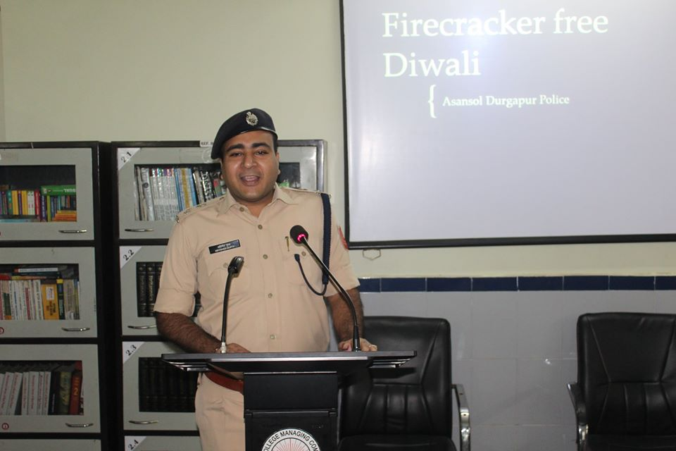 On 24.10.2019 awareness programme on how to celebrate Diwali in an environment friendly manner without crackers and thus to prevent air and sound pollution organized by Durgapur PS at D.A.V Model School Durgapur.