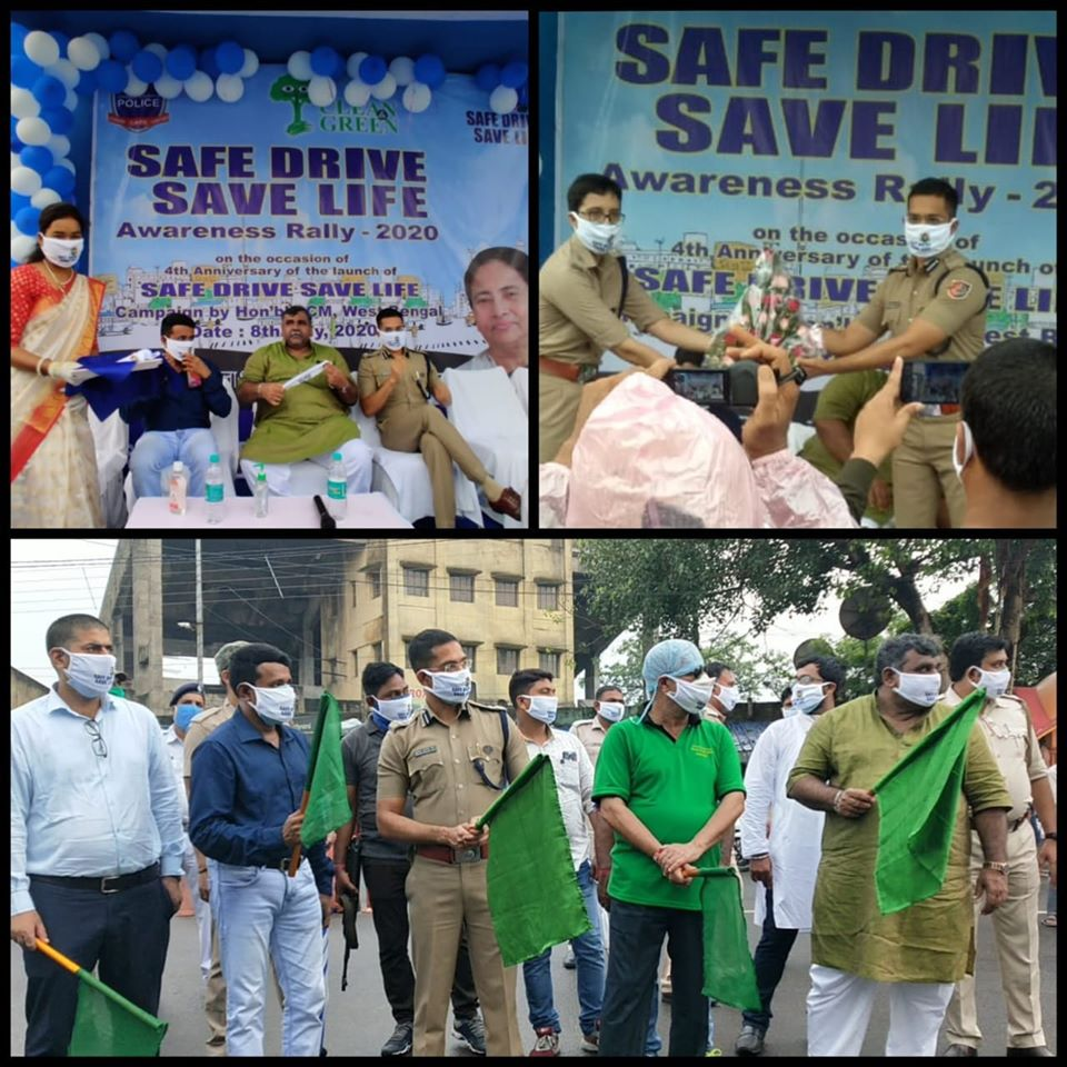 SAFE DRIVE SAVE LIFE Awareness Rally -2020  On the Occassion of 4th Anniversary of Safe Drive Save Life Campaign Asansol Durgapur Police Commissionerate organised an awareness program, which was graced by the presence of CP ADPC, DM Paschim Burdwan, all senior Police Officers of ADPC, Mayor Asansol Municipal Corporation and Chairman ADDA and other Diginataries. The programme covered issues regarding safe practices while driving on the road, such as wearing of helmets by motorcyclists and other traffic rules. Also people were requested to wear masks and maintain social distancing to prevent the spread of Coronavirus.