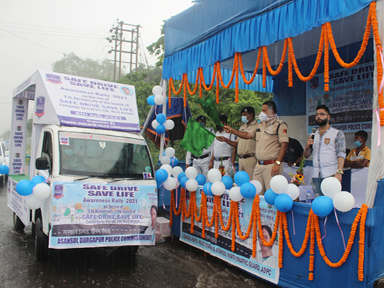 SAFE DRIVE SAVE LIFE Awareness Rally - 2021 organised by Asansol Durgapur Police on the occasion of 5th Anniversary of the launch of